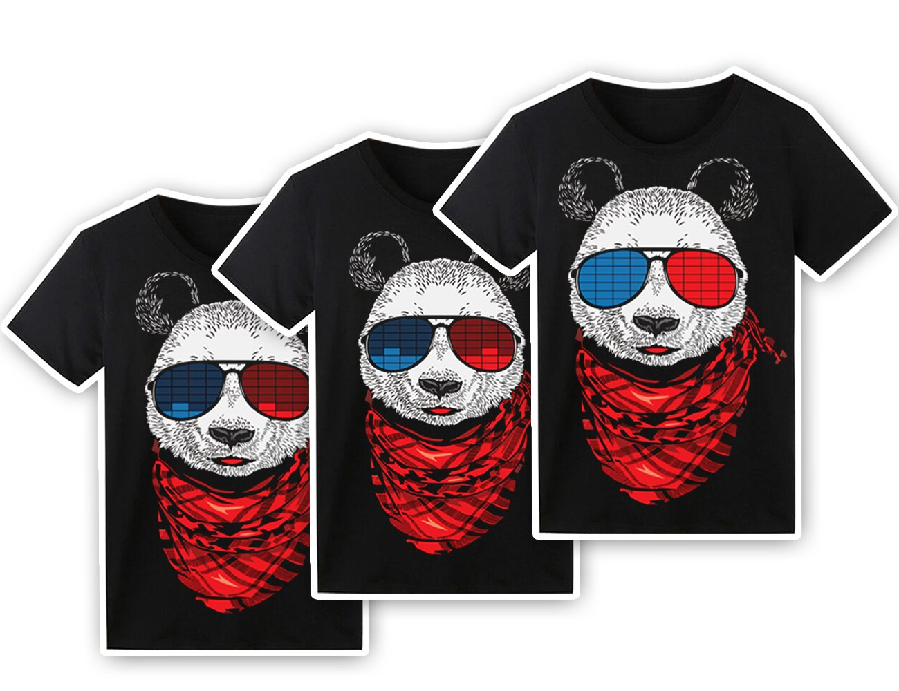 LED T Shirt Sound Activated Funny Shirts Light Up Equalizer Animation Clothes Fancy Dress for Party Hiphop Halloween Concert Cosplay Birthday Gift with Panda Design, Bonus Glow Bracelet