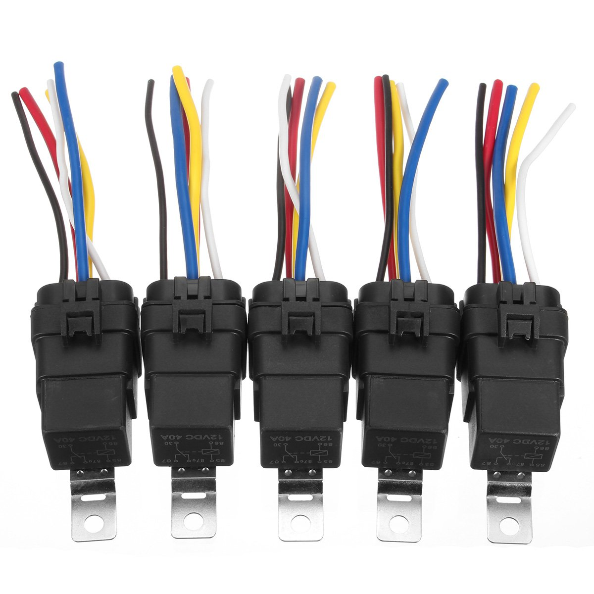 GOZAR 5 Pcs Automotive Relay Switch Harness 12AWG Wires Waterproof 40//30Amp 12VDC