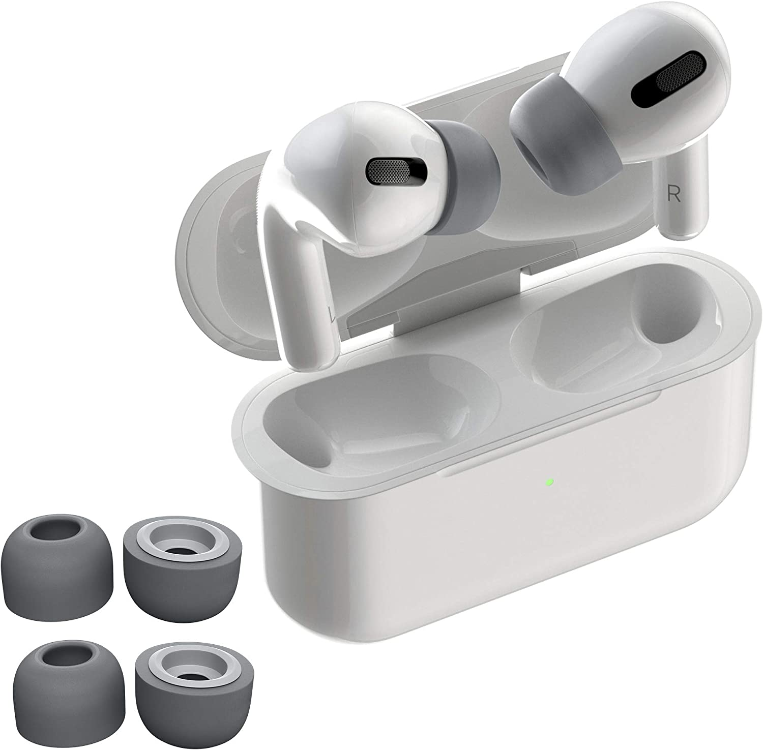 AirFoams Pro Foam Ear Tips for Airpods Pro. Premium Memory Foam Ear Tips. Stays in Your Ears. No Silicone Ear tip Pain. All Day Comfort. (2 Medium/Large, Space Gray)