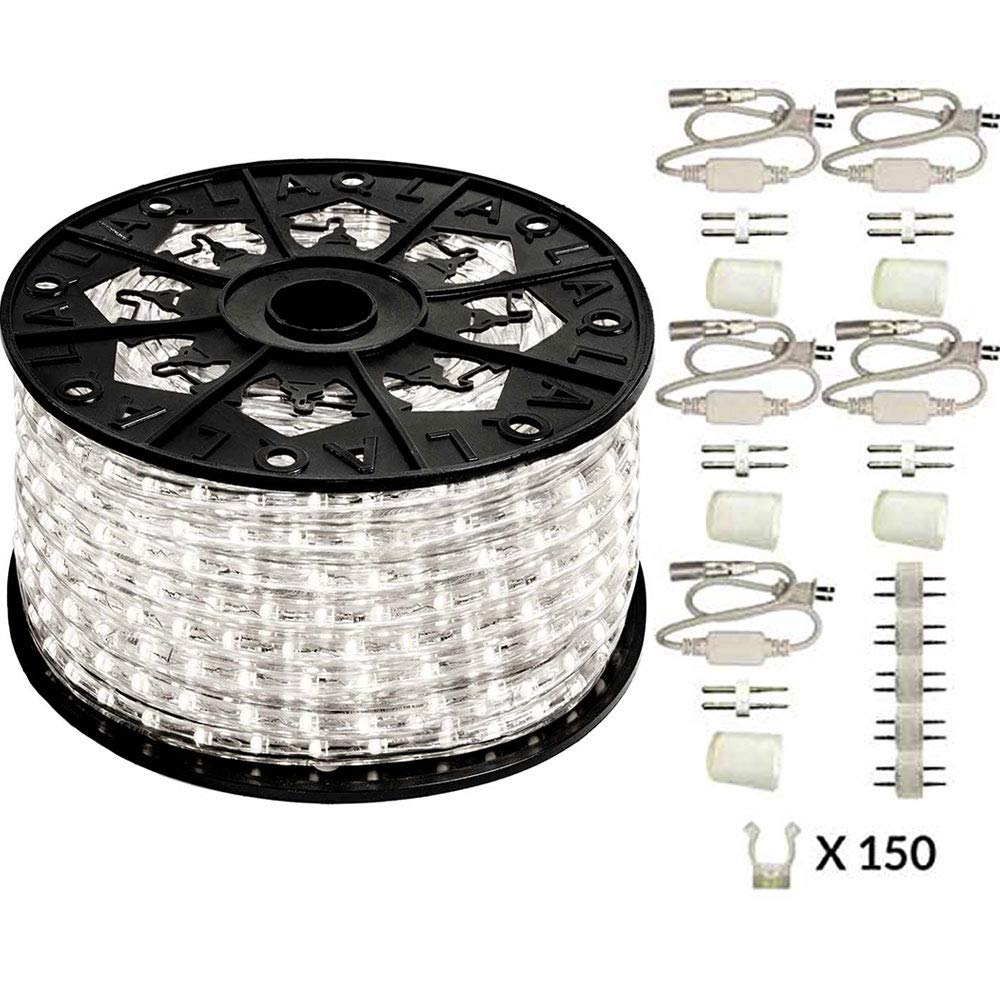 AQL Dimmable Cool White LED Rope Light Deluxe Kit, 120 Volts, Full 360 Degrees LED 513PRO Diode, 150ft/Roll, Commercial Grade Indoor/Outdoor Rope Light, IP65 Waterproof