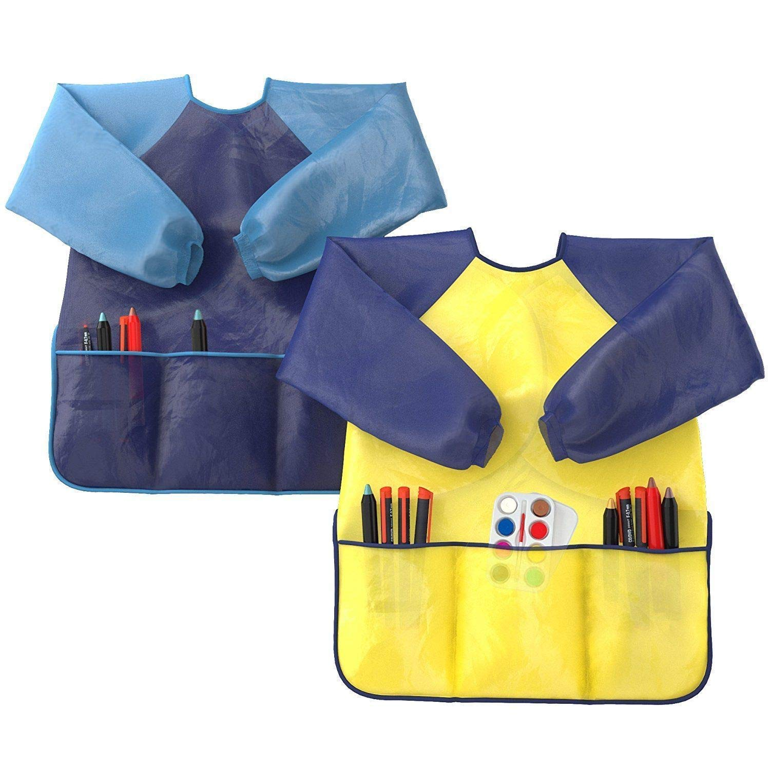 Kids Art Smocks Pack of 2 - Children Artist Painting Aprons Waterproof and Long Sleeve with 3 Roomy Pockets for Boys and Girls Age 2-6 Years Old Wabbio