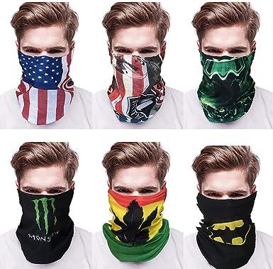 9pcs Set Seamless US Flag Face Tube Neck Gaiter Headband Scarf Headwear Bandana