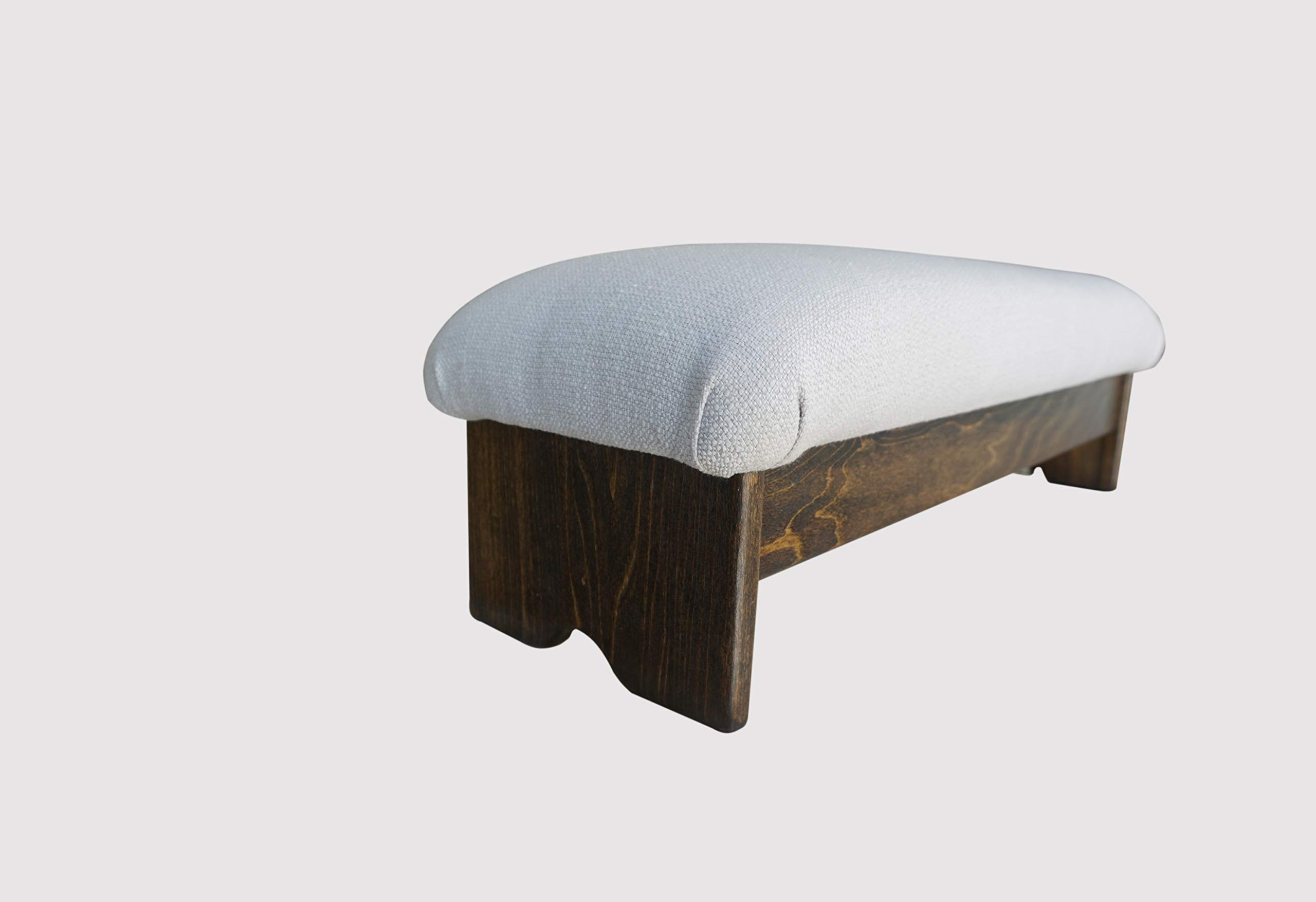 KR Ideas Bedside Padded Foot Stool, Walnut Stain 9'' Tall (Made in The USA) (Malibu Sea Salt - 9'' Walnut)