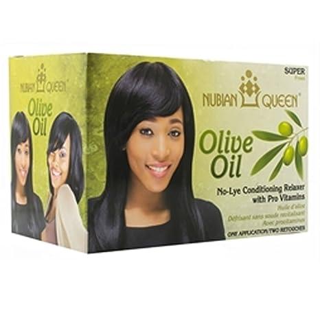 Nubian Queen aceite de oliva pelo acondicionado tumbona con vitaminas no Lye – Super