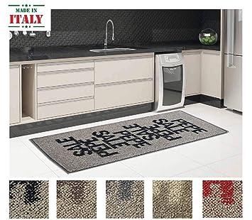 CASA TESSILE Tappeto Cucina Cotone Antiscivolo Sale E Pepe - Rosso ...