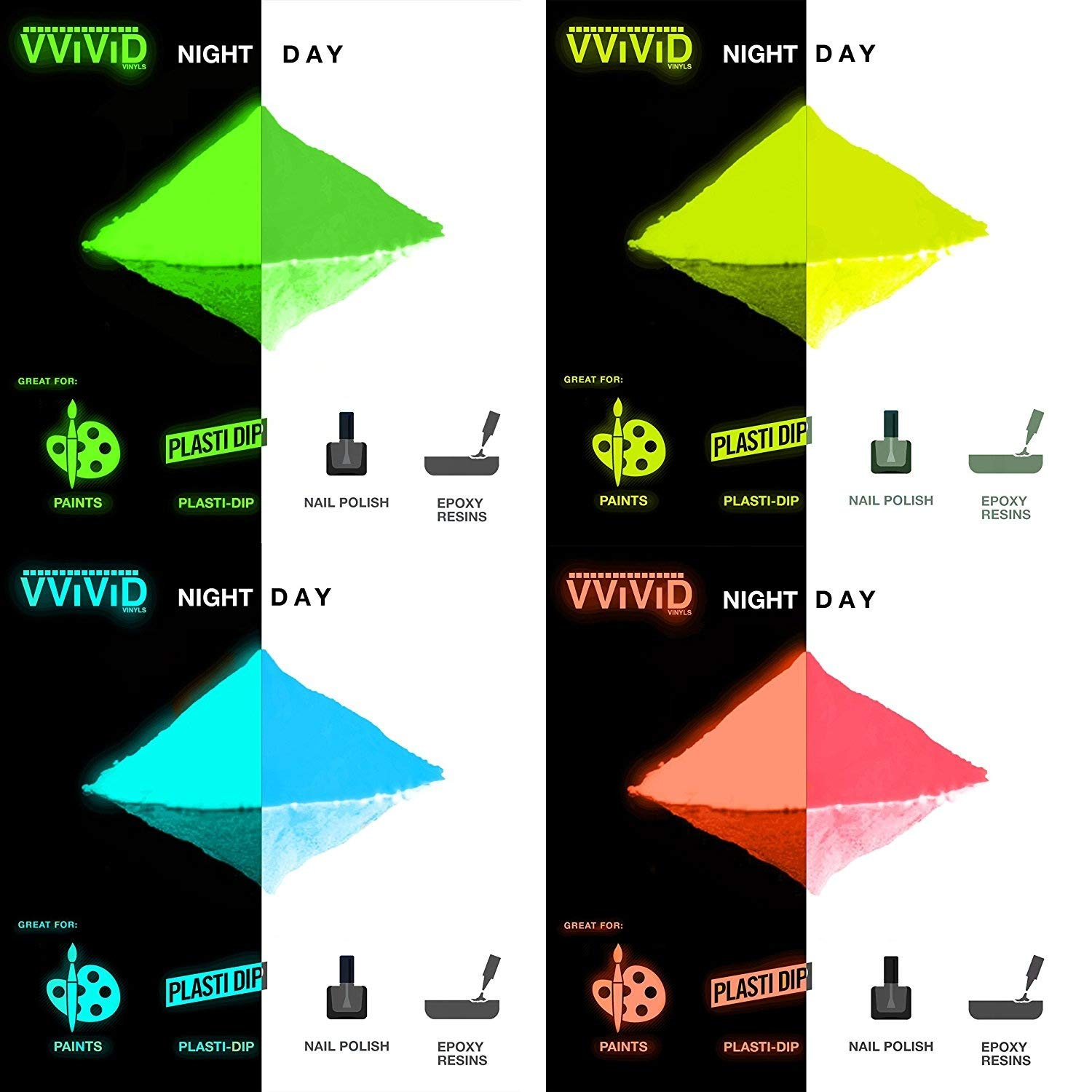 VViViD Prisma65 Glow in the Dark Pigment 30g Packet Multi Color Pack (7 Color Pack) 4336953565
