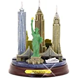 New York City Statue Model NYC Skyline Architecture, Wooden Base, 4.5""