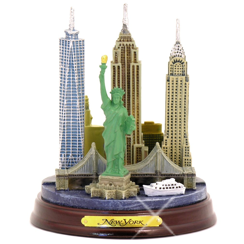 New York City Statue Model NYC Skyline Architecture, Wooden Base, 4.5''