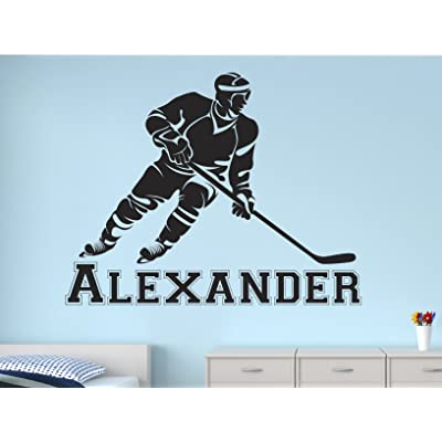 "Lovely Decals World LLC Hockey Stick Wall Decal Personalized Boys Name Art for Kids Sticker Nursery Decor Vinyl LD50 (22"" W x 18"" H): Home & Kitchen"