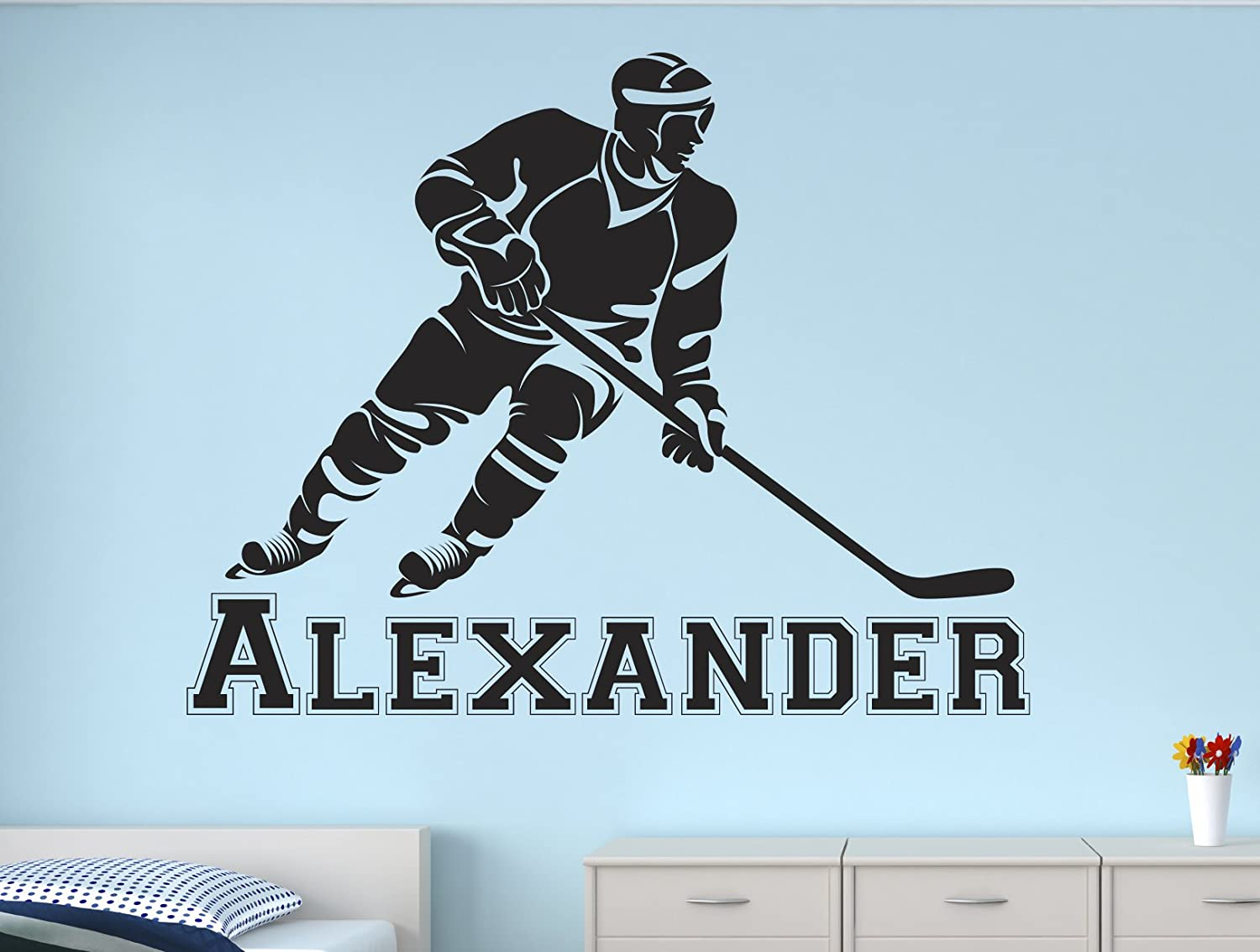 "Lovely Decals World LLC Hockey Stick Wall Decal Personalized Boys Name Art for Kids Sticker Nursery Decor Vinyl LD50 (32"" W x 24"" H)"