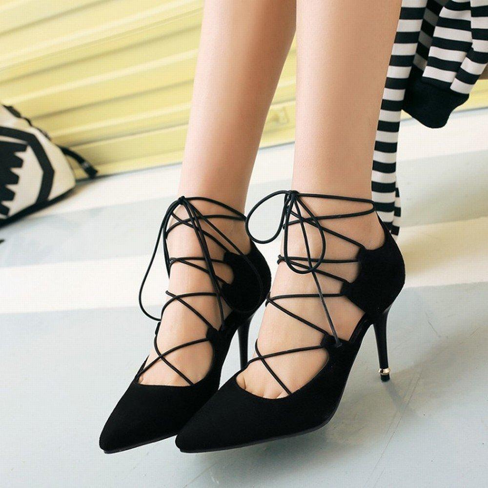 DHG Lace-up-Frauen 'Wies mit Spitze Wildleder Schuhe mit 'Wies Hohen Absätzen Große Größe 40-47 Meter Kleinen Code 32-33 Yards 8-22,Schwarz,37 - c946fb