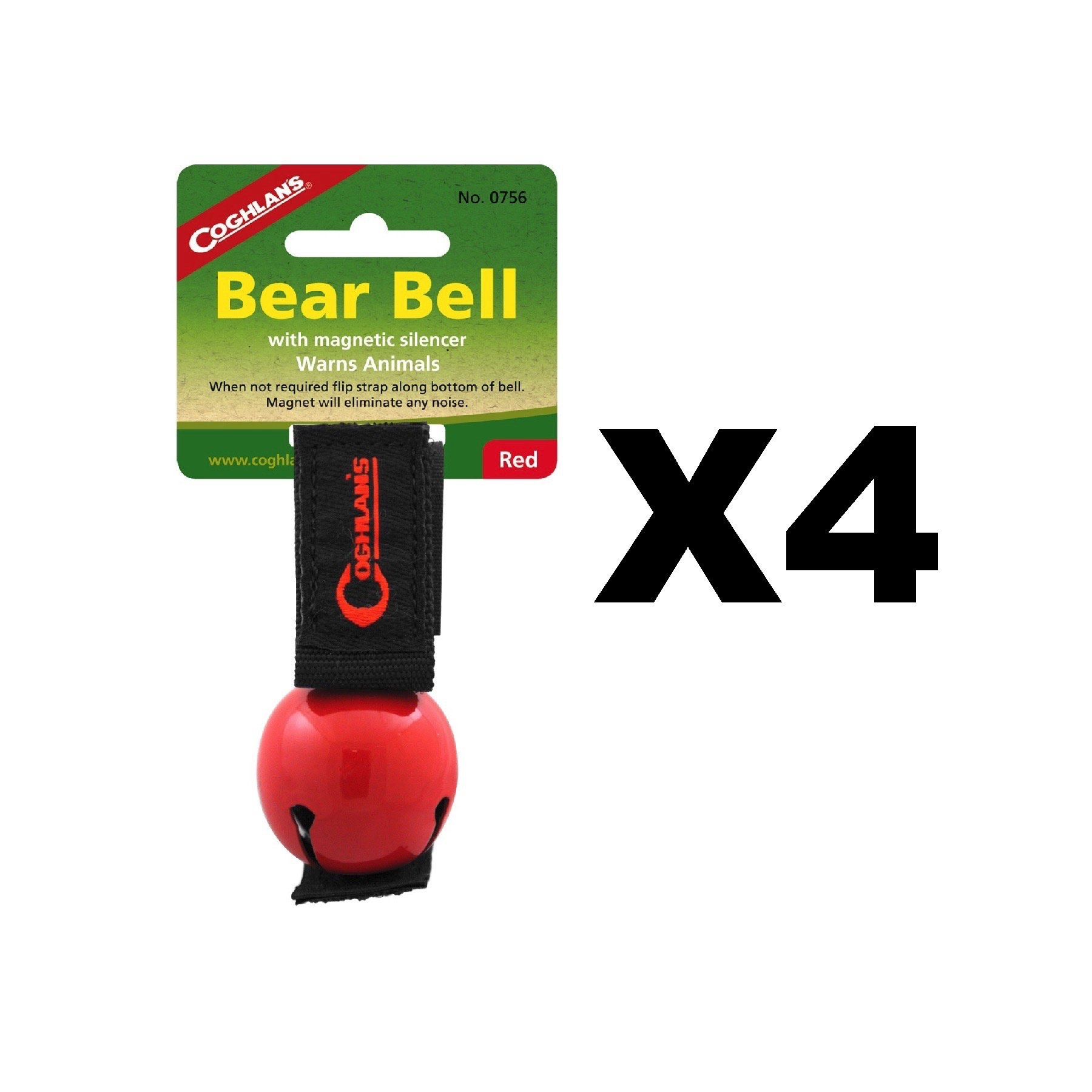 Coghlan's Bear Bell Red w/Magnetic Silencer & Loop Strap Warns Animals (4-Pack)