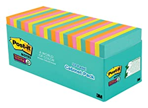 Post-it Super Sticky Notes, Blue, Pink, Green, Orange, Sticks and Resticks, Call out Important Information, Value Pack, 3 in. x 3 in, 24 Pads/Pack, (654-24SSMIA-CP)