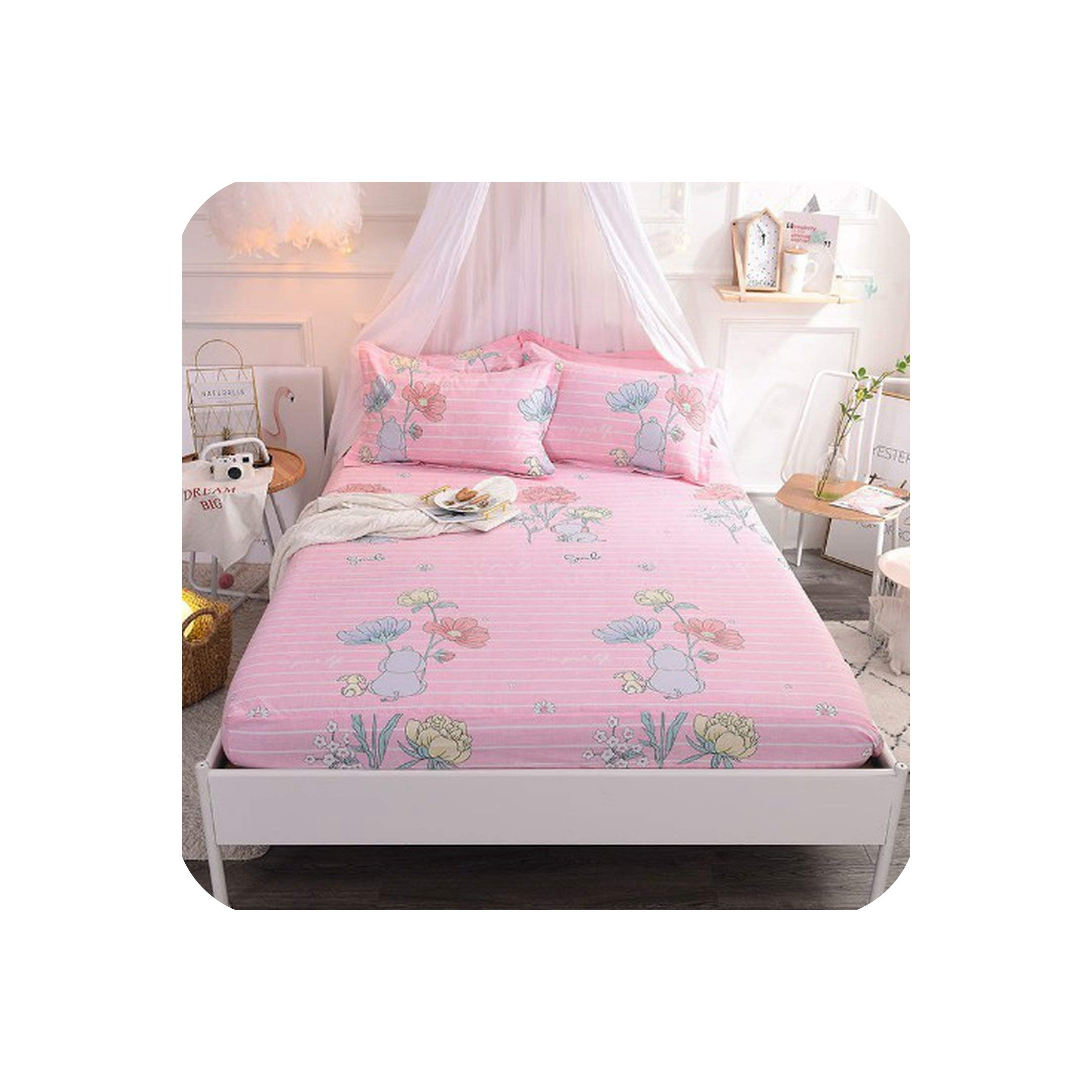100% Pure Cotton Fitted Sheet Lovely Flora Twin/Full/Queen Size Bedsheet Set ShamsFlower Colorful Striped Kids Children's Bed,Fitted Sheet 4,180cmX200cm 3Pcs
