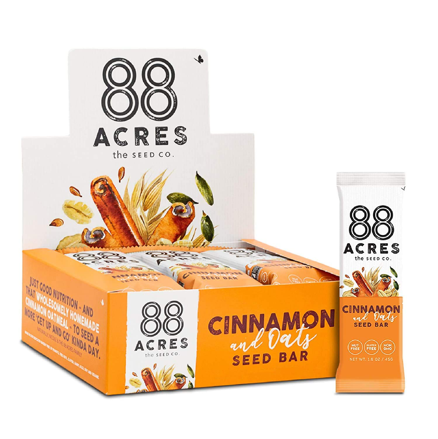 88 Acres Granola Bars | Cinnamon & Oats | Gluten Free, Nut-Free Oat and Seed Snack Bar | Vegan & Non GMO | 12 Pack