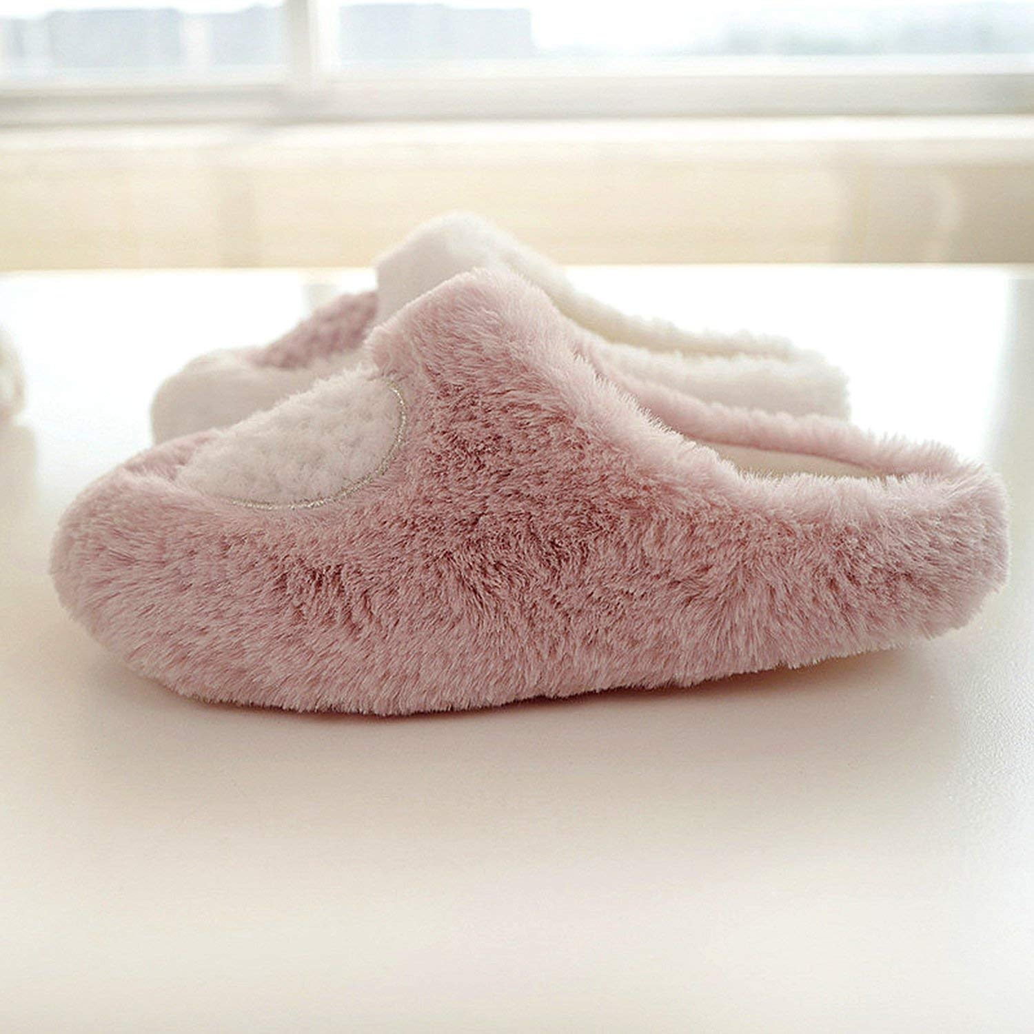 Fantastic-Journey Female Indoor Winter Warm Fluffy Home Shoes White//Pink Heart-Shaped Pregnant Woman Slippers
