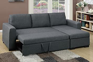 Strange Major Q Blue Grey Pull Out Sleeper Sectional Sofa With Machost Co Dining Chair Design Ideas Machostcouk