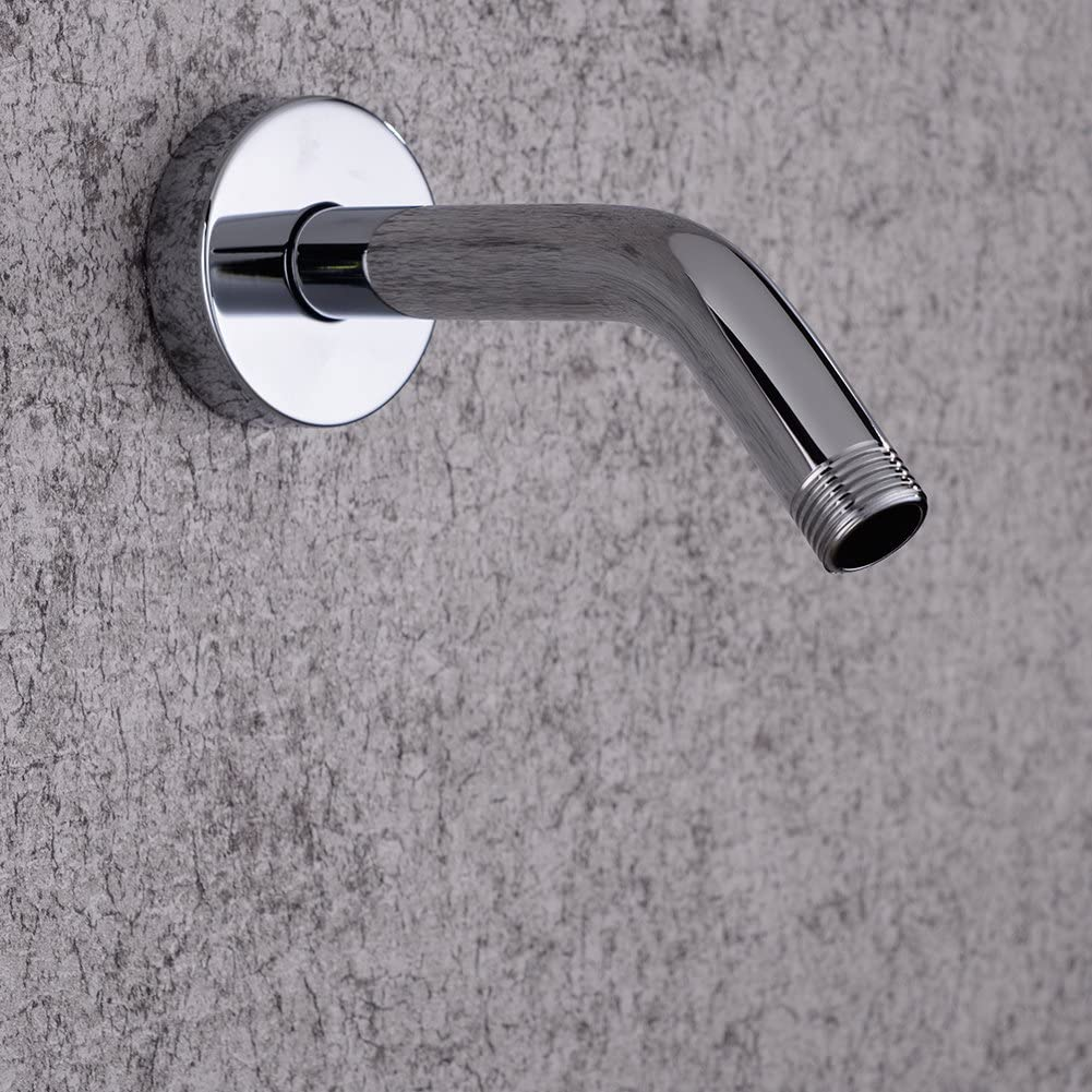 Polishe Chrome Wall Mount Extension Shower Arm with Flange. 16cm Rain Shower Head Arm,OUTOS Brass 6.3 Inch Long