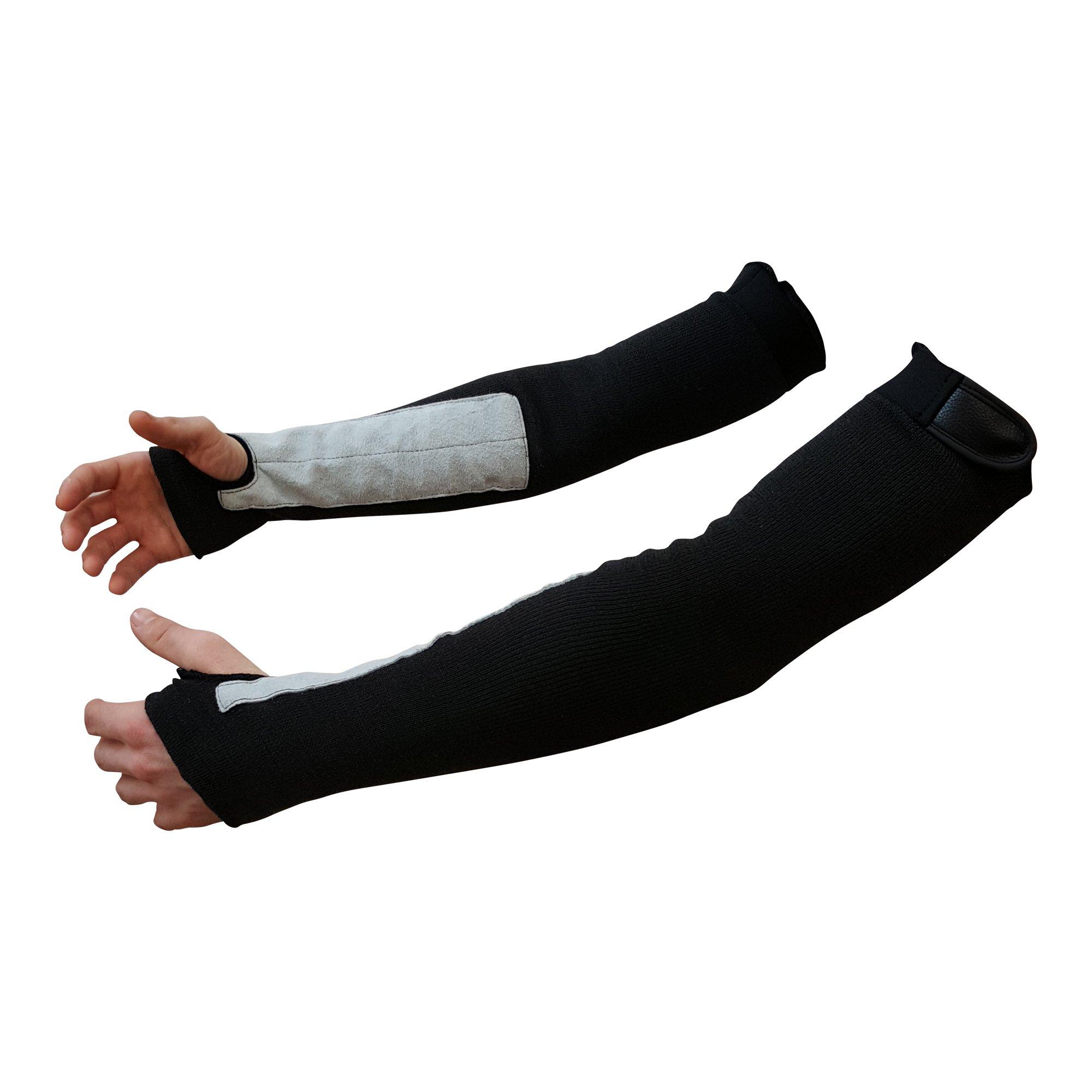 "22"" Black Kevlar Protective Arm Sleeves / Cut And Heat Resistant (1 Pair)"