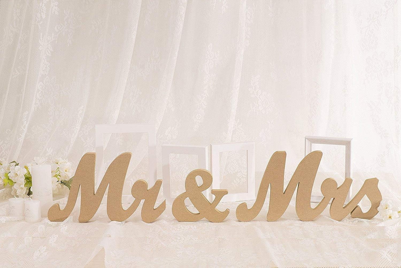 Huihuiyang Vintage Style Wooden Mr & Mrs Letters Sign DIY Decor for Wedding Decoration Table Decor Wedding