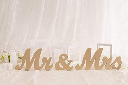 Amazon Com Vintage Style Wooden Mr Mrs Letters Sign Diy Decor For
