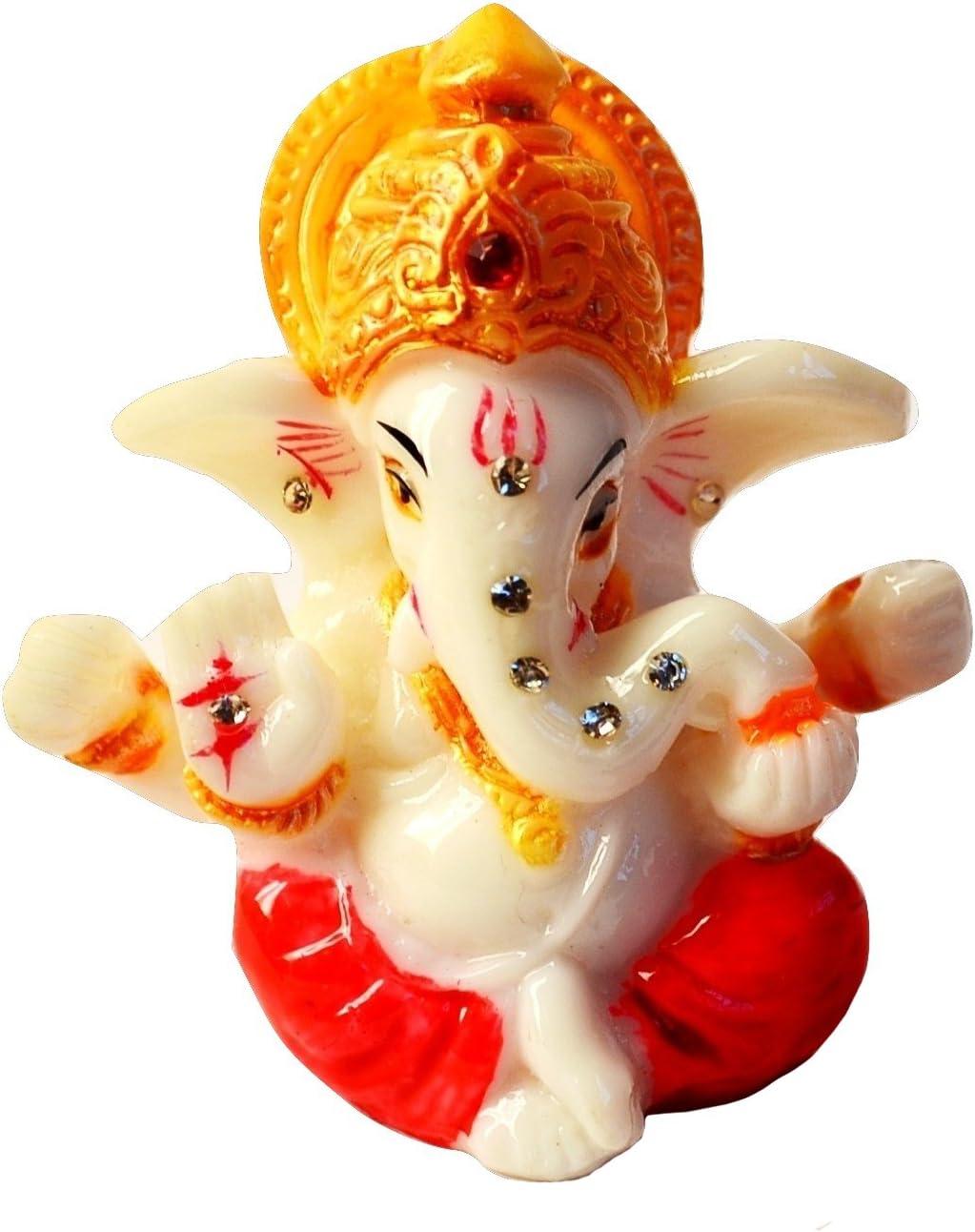 "2.5"" Mini Lord Ganesh / Ganpati Poly Marble Idol. Hindu God of Success (Red). Small Ganesha Statue"
