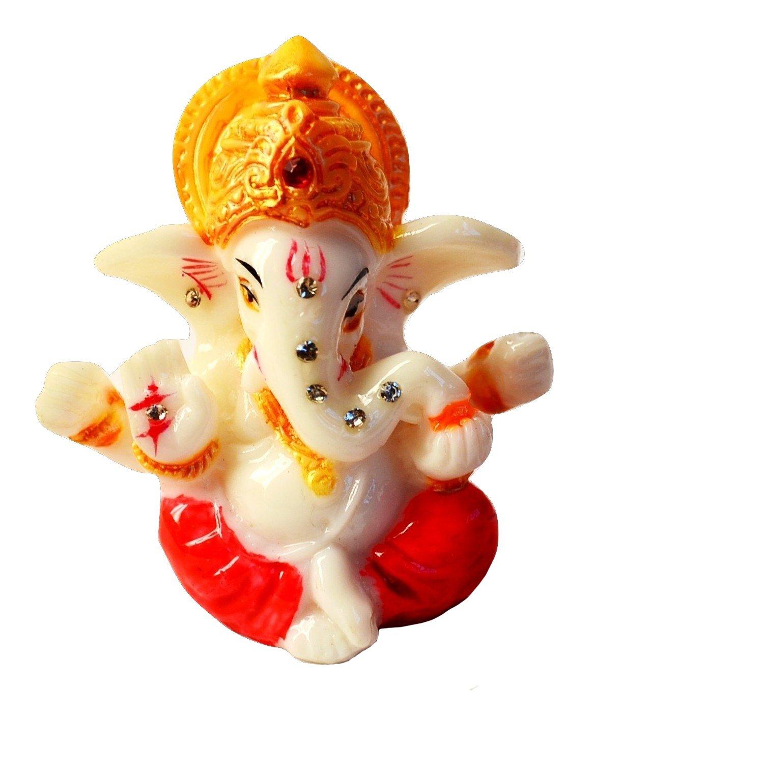 2.5'' Mini Lord Ganesh / Ganpati Poly Marble Idol. Hindu God of Success (Red). Small Ganesha Statue