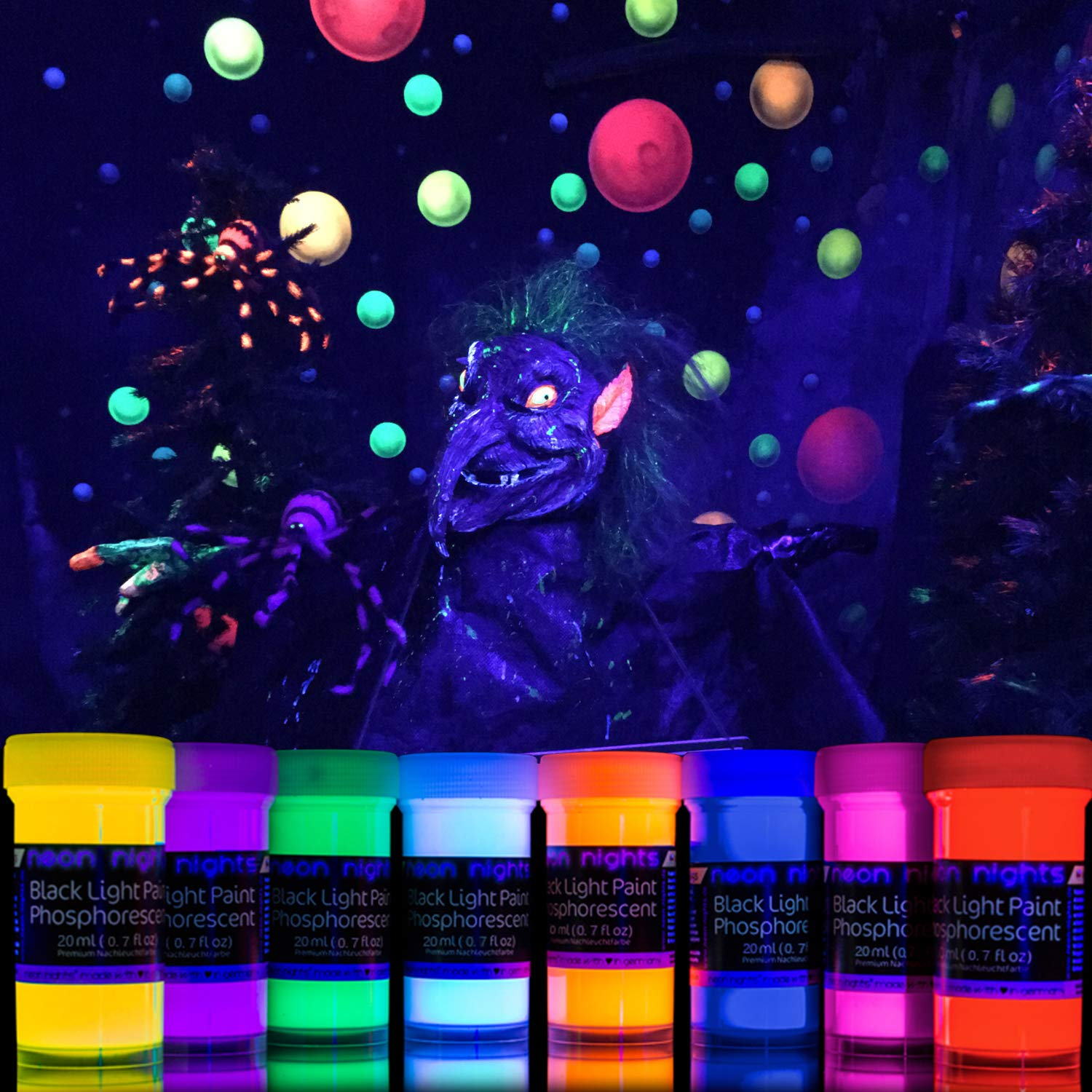 Wondrous 2 In 1 Glow In The Dark Paint Neon Glow Paint Set With Uv Black Light Reflective Wall Paint 8 Color Kit High Pigmentation German Quality Download Free Architecture Designs Scobabritishbridgeorg