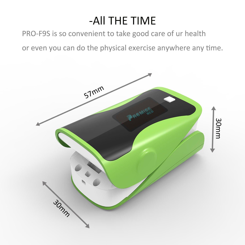 Oxímetros - PRCMISEMED Pro Series F9s Oxímetro de pulso de la yema del dedo Monitor de saturación de oxígeno en la sangre con cordón (verde): Amazon.es: ...