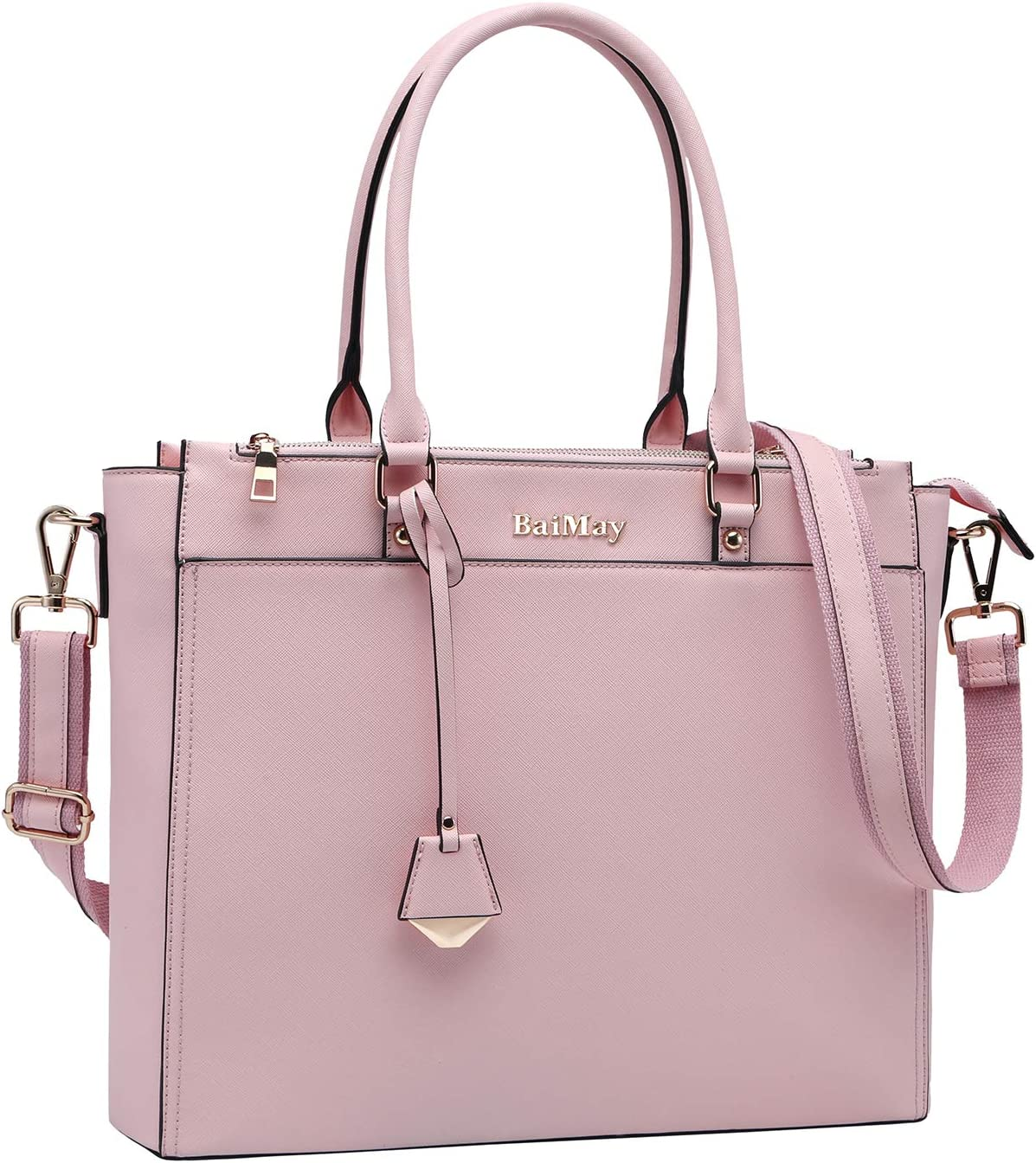 Laptop Bag for Women,15.6-17 Inch Laptop Tote Ladies Briefcase Roomy Work Bag Computer Bag-Pink 17in