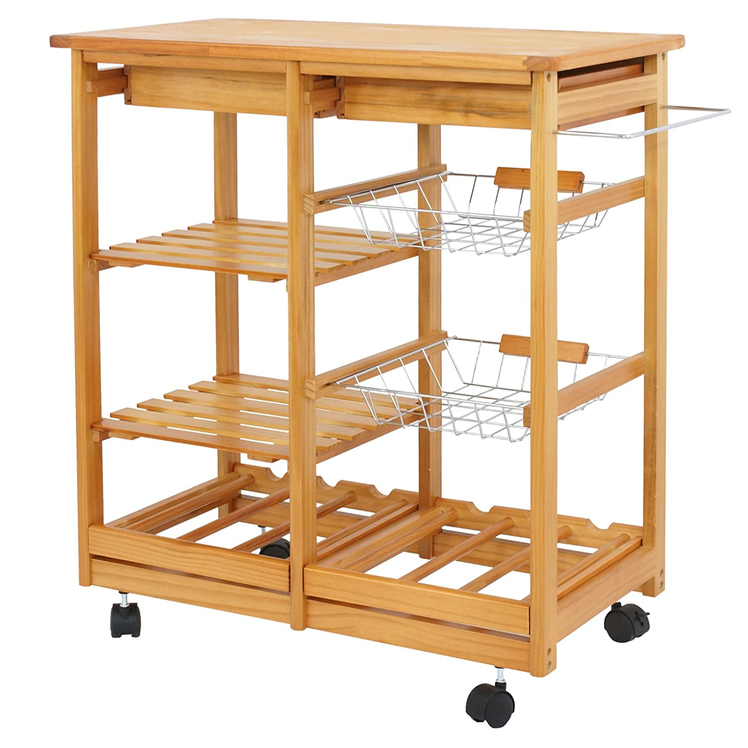 ZENY 4-Shelf Kitchen Storage Island Cart Rack Wood Dining Trolley w Drawers Basket Stand Home Kitchen Shelves and Organizer w Wheels