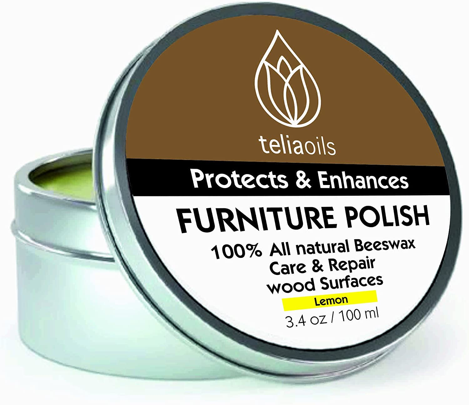 Beeswax Furniture Polish with Lemon ess oil, 100% natural, for any kind of wood, nourishing, renewing, sealing, covering scratches, protecting from drying out, restoring wood's natural beauty. (Scent)