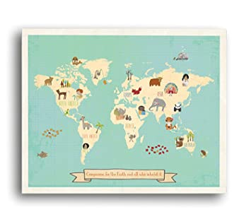 Amazon global compassion world map 24x36 inch canvas global compassion world map 24x36 inch canvas childrens wall art map kids animal world gumiabroncs Images