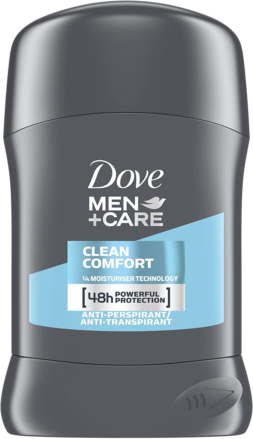 Desodorante en barra antitranspirante Dove Plus Care. Para hombre, modelo Clean Comfort, 50 ml, Pack of 6