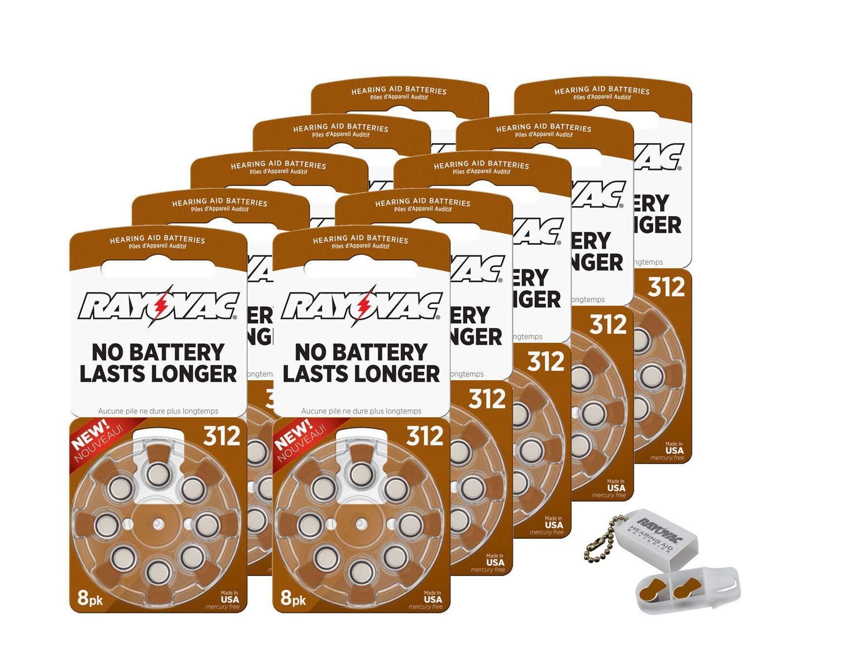 Rayovac Size 312 Extra Advanced Mercury Free Hearing Aid Batteries + Battery Holder Keychain Kit (80 Batteries) by Rayovac
