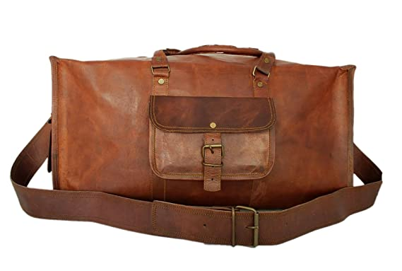 Amazon.com   Handmade Mens Travel Bag Genuine Leather Duffel ...