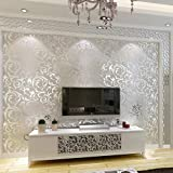 Elaco Home Sticker, 10M Luxury Silver 3D Victorian Damask Embossed Wallpaper Rolls Home Art Decor