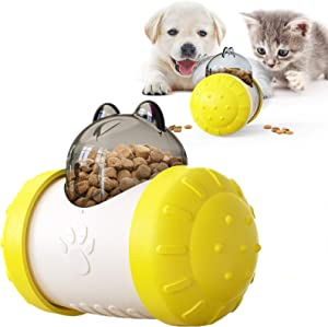 Tumbler Automatic Pet Slow Feeder Treat Ball Dog Toy for Pet Increases IQ, Interactive Food Dispensing Dog Puzzle Toy Made of ABS Material, Suitable for Dogs Cats, 5 Colors to Choose