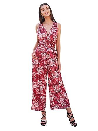 Missy Chilli Damen Lang Jumpsuit Elegant Sommer V-Ausschnitt Rückenfrei  Blumen Strand Playsuit Overall mit 5e2ec9480d