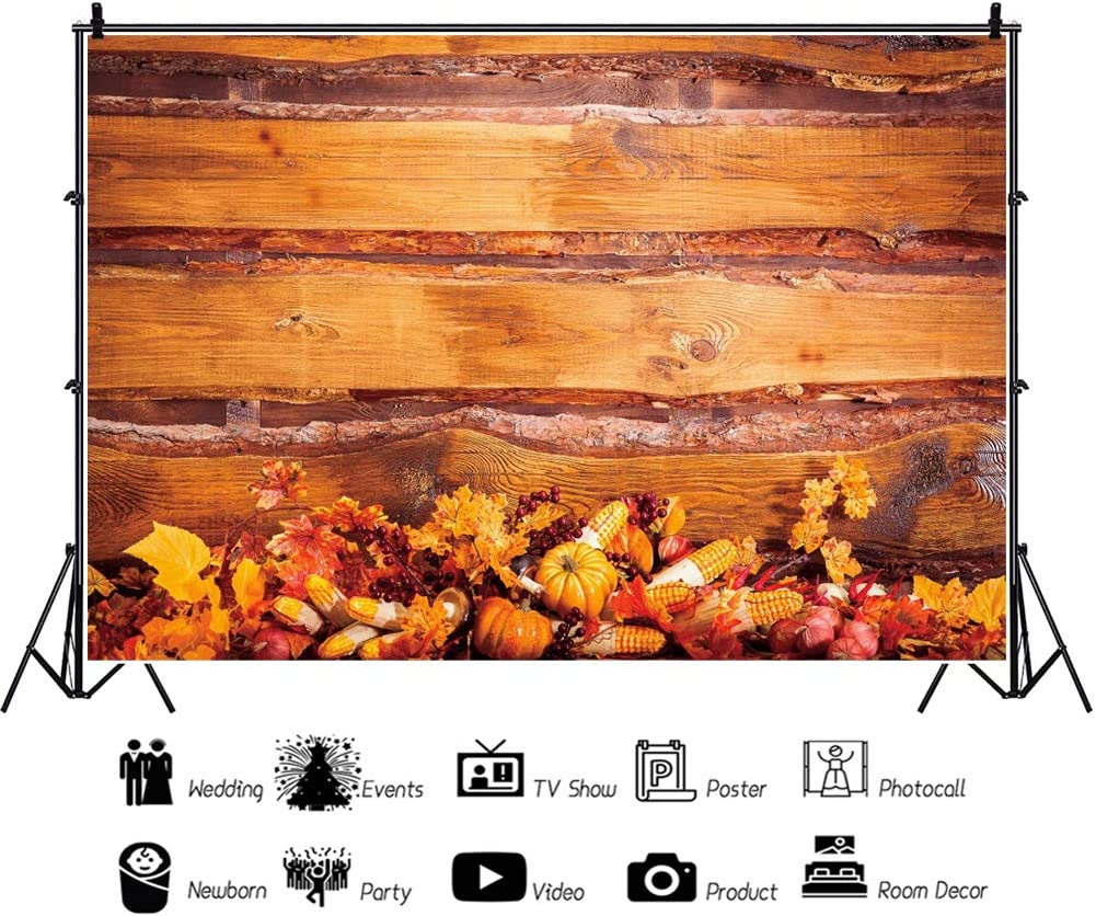 DaShan 10x8ft Maple Leaves Fall Thanksgiving Backdrop Rustic Wood Pumpkins Autumn Harvest Party Autumn Farm Event Fall Theme Party Photography Background Autumn Foliage Party Photo Props
