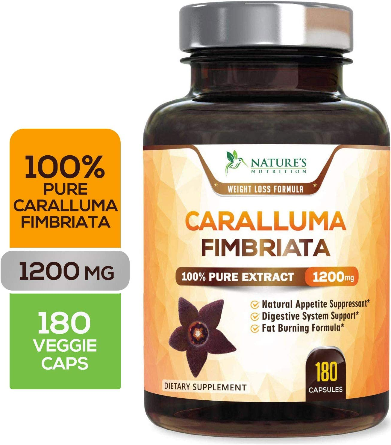 100 Pure Caralluma Fimbriata Extract Highest Potency 1200mg – Weight Loss Appetite Suppressant, Made in USA, Best Vegan Keto Diet Pills, Fat Burner Supplement for Women Men – 180 Capsules