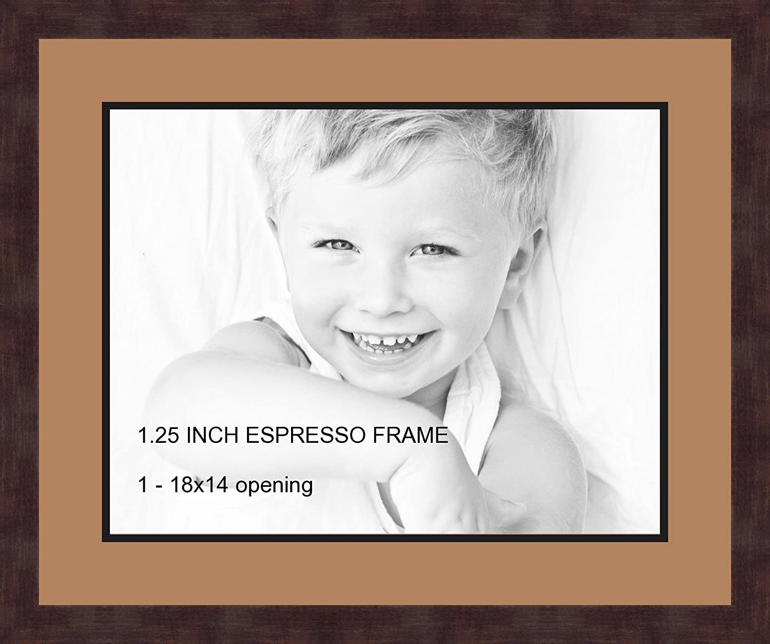 Art to Frames Double-Multimat-731-771/89-FRBW26061 Collage Frame Photo Mat Double Mat with 1-14x18 Openings and Espresso frame