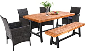 PHI VILLA 6 PCS Outdoor Patio Dining Set with 1 Premium Acacia Wood Table,4 Rattan Cushioned Chair and 1 Wooden Bench Furniture Set for Indoor Backyard, Porch, Balcony, Lawn, Poolside