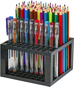 96 Hole Pencil & Brush Holders, 2 Pack Multi Bin Plastic Desk Stand Organizer Holding Rack for Pens, Paint Brushes, Colored Pencils, Gel Pens, Markers and Modeling Tools, Storage & Organizing Crate