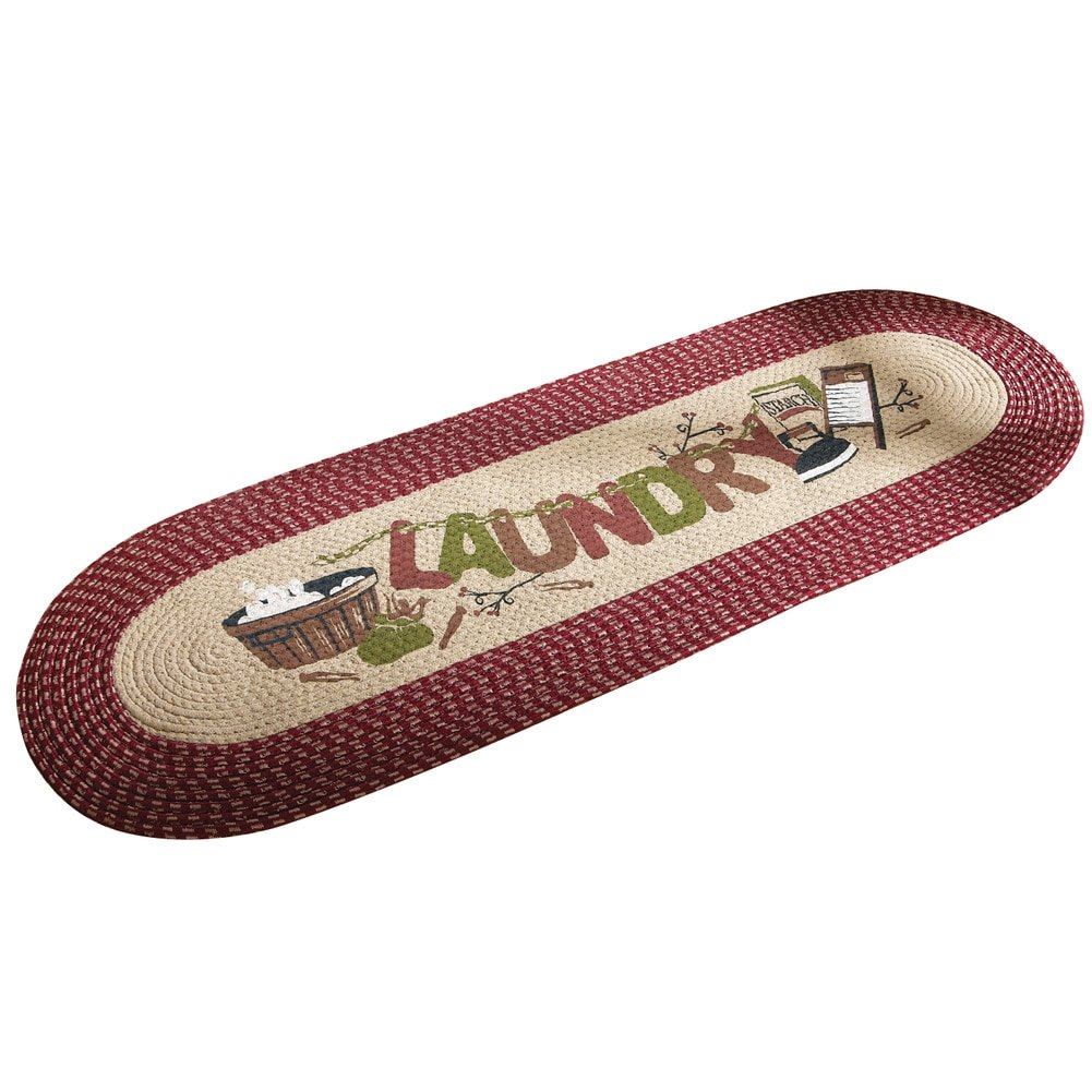 Vintage Laundry Room Decorative Braided Runner by Collections Etc