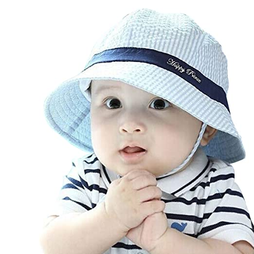 af2099f0ec5f6 Amazon.com  Toddler Infant Baby Boy s Cute Blue Sun Hat Cap  Clothing