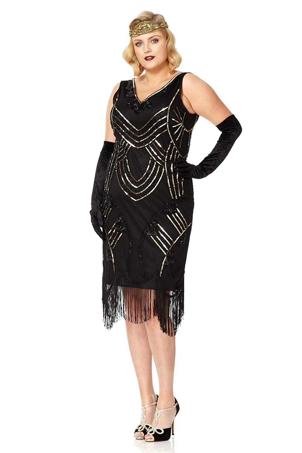 1920s Plus Size Flapper Dresses, Gatsby Dresses, Flapper Costumes Juliet Vintage Inspired Fringe Dress in Black Gold $124.86 AT vintagedancer.com