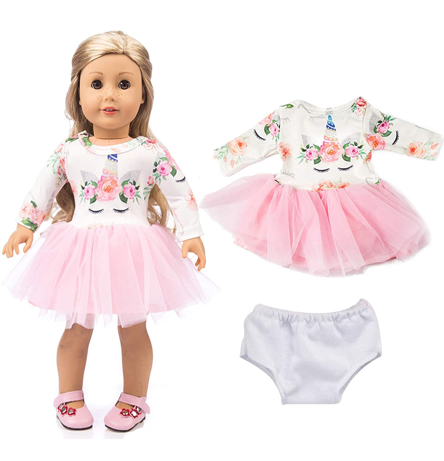 ebuddy Pink Long Sleeve Veil Soft Cotton Unicorn Doll Dress Clothes with Briefs for 18 inch Dolls Like American Girl, Journey Girl Dolls, Our Generation Dolls
