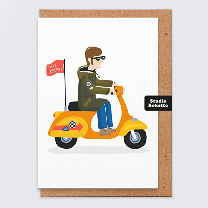 KEEP THE FAITH NORTHERN SOUL Birthday Card Scooter Vespa Husband Boyfriend