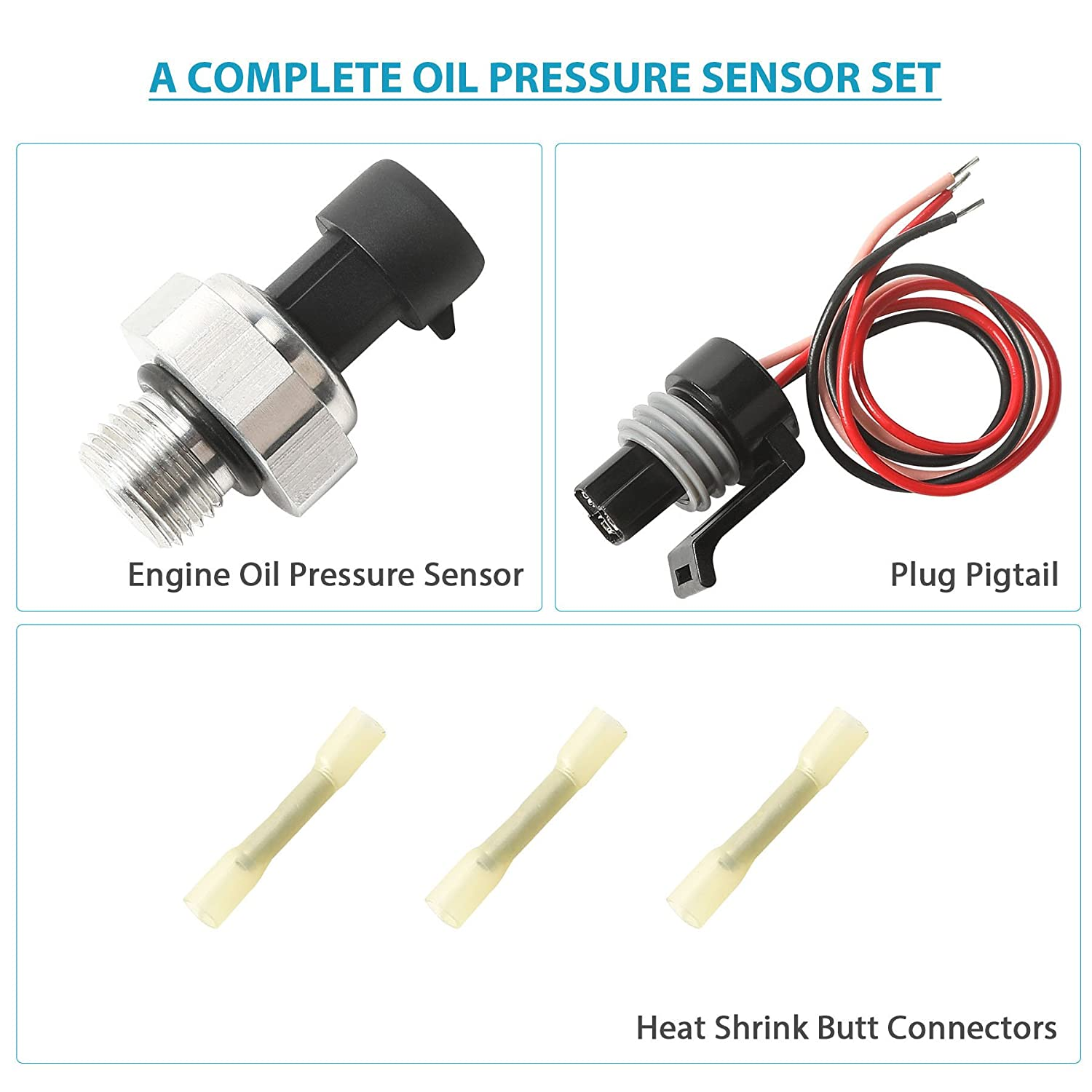 Orion Mootr Tech 12677836 Oil Pressure Sensor Switch with Pigtail Harness,  Compatible with GM Chevy GMC Cadillac Buick, Replaces# D1846A, 12616646,